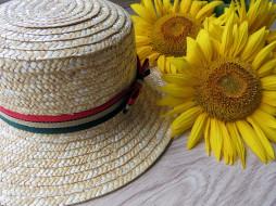 шляпа, разное, одежда,  обувь,  текстиль,  экипировка, лето, подсолнух