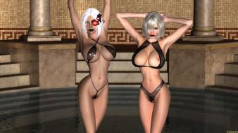 эро-графика, видео игры, взгляд, грудь, девушки, фон