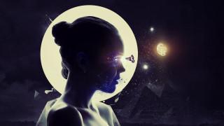профиль, луна, пирамиды, девушка