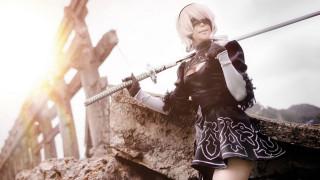 повязка, поза, Nier Automata, cosplay, мечь