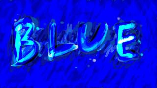 надпись, синий
