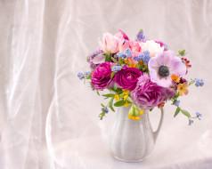 анемон, букет, роза