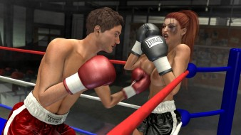 эро-графика, 3d спорт, ринг, бокс, грудь, фон, взгляд, девушка