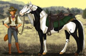 векторная графика, животные , animals, лошадь, фон, взгляд, девушка