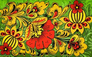 векторная графика, цветы , flowers, иван, иваныч, madeinkipish, хохломская, роспись, хохлома, арт, русская, стиль, узор, цветы, фон