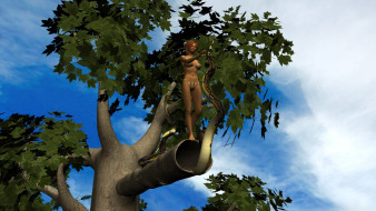 взгляд, девушка, фон, змея, дерево