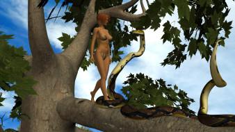 дерево, девушка, взгляд, змея, фон