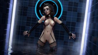 эро-графика, 3д-эротика, фон, грудь, взгляд, девушка