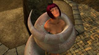 девушка, змея, фон, взгляд