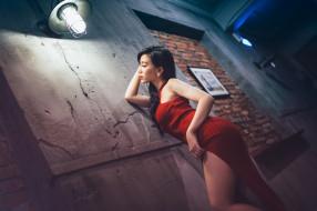 девушки, -unsort , азиатки, wallhaven, глубина, резкости, модель, азиатские, женщины, темные, волосы, профиль, платье, стена, фонарь