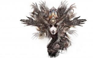 3д графика, существа , creatures, руки, абстракция, лицо, девушка