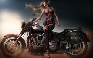 3d девушка, 3д графика, люди-авто, мото , people- car ,  moto, девушка, мотоцикл, 3d
