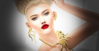 3d девушка, 3д графика, портрет , portraits, девушка, 3d, блондинка, украшения