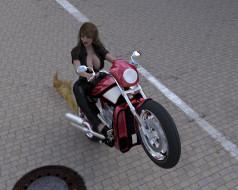 3д графика, люди-авто, мото , people- car ,  moto, девушка, фон, взгляд
