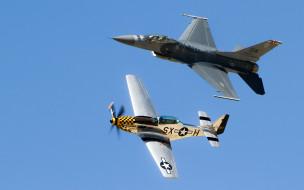 falcon, mustang, f16, p51d, истребитель, авиация