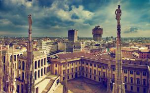 архитектура, италия, лето, европа, милан, город, старый город
