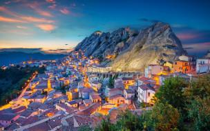горный пейзаж, итальянский город, закат, пьетрапертоса, средиземное море, вечер, базиликата, италия
