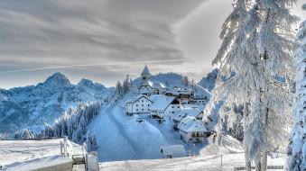 Европа, пейзаж, горы, солнце, мороз, зима