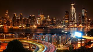 небоскребы, дома, река, дорога, огни, ночь, США, Город, Нью-Йорк
