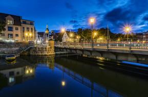 огни, вечер, канал, Stralsund, Штральзунд, Германия