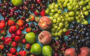 персики, ягода, фрукты, виноград, клубника, вишня