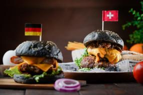 еда, бутерброды,  гамбургеры,  канапе, начинка, гамбургер, флаг