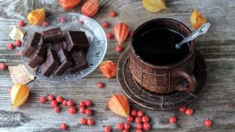 еда, кофе,  кофейные зёрна, шоколад, физалис