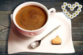 еда, кофе,  кофейные зёрна, печенье, чашка