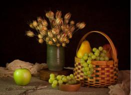 еда, натюрморт, виноград, груши, яблоко, корзина