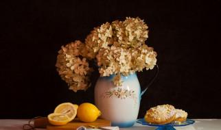 еда, натюрморт, гортензия, цветы, лимон, букет