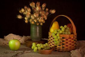 еда, натюрморт, яблоко, виноград, груша