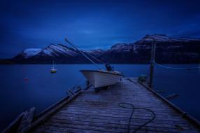 река, лодка, ночь