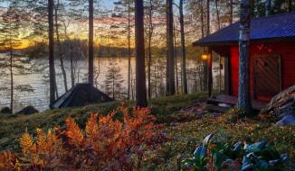 дом, озеро, закат, фонарь, лес, осень