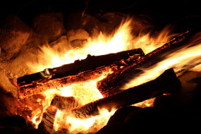 костер, пламя, дрова