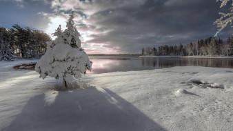 природа, зима, озеро