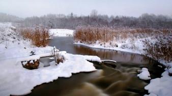 природа, реки, озера, зима, снег