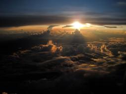 природа, облака, закат, солнце, небо