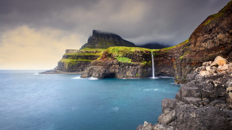 природа, водопады, горы, море, пейзаж, водопад