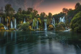 природа, водопады, река, водопад, лес
