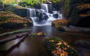 природа, водопады, река, листья, осень, бретань, brittany, france, каскад, водопад, франция, камни, saint-herbot