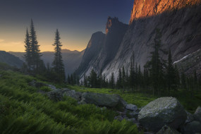 природа, горы, лето, лес, скалы, камни, вечер, склон, свет, вершины, валуны, папоротник