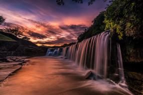 природа, водопады, река, рассвет, водопад, Япония, каскад, Чёрный, утро