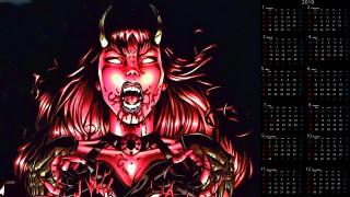 календари, фэнтези, женщина, кровь, существо, лицо