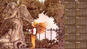 календари, фэнтези, растения, скульптура, крылья, статуя, ребенок