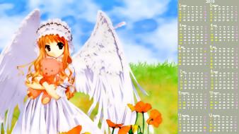 календари, аниме, взгляд, девочка, цветы, крылья, игрушка