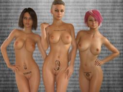 эро-графика, 3д-эротика, грудь, девушки, взгляд, фон