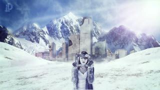 снег, город, девушка, рамка, горы