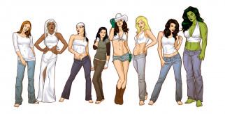 девушки, фон, взгляд, одежда