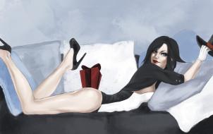 девушка, взгляд, диван, фон