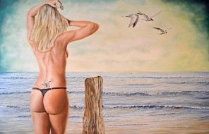 рисованное, люди, море, фон, чайки, девушка, тату